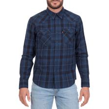 LEVI'S - Ανδρικό μακρυμάνικο καρό πουκάμισο LEVI'S BARSTOW WESTERN μπλε