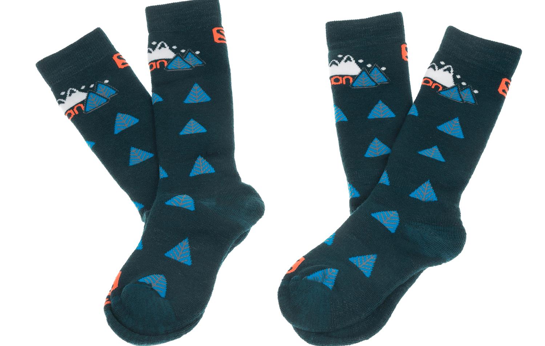 SALOMON - Σετ παιδικές κάλτσες SALOMON SKI TEAM JR 2-PACK πράσινες