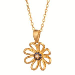 JEWELTUDE - Γυναικείο επίχρυσο κολιέ Λουλούδι Μάτι