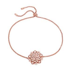 FOLLI FOLLIE - Γυναικείο ασημένιο βραχιόλι FOLLI FOLLIE FF BOUQUET ροζ χρυσό