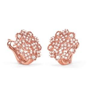 FOLLI FOLLIE - Γυναικεία ασημένια σκουλαρίκια FOLLI FOLLIE FF BOUQUET ροζ χρυσά