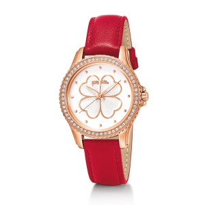 FOLLI FOLLIE - Γυναικείο ρολόι με δερμάτινο λουράκι FOLLI FOLLIE HEART 4 HEART κόκκινο
