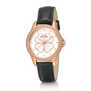 FOLLI FOLLIE - Γυναικείο ρολόι με δερμάτινο λουράκι FOLLI FOLLIE HEART 4 HEART μαύρο