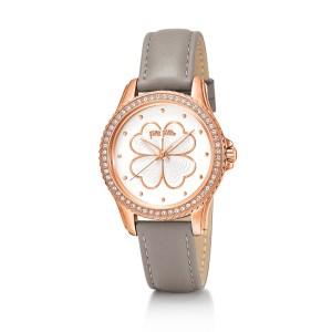 FOLLI FOLLIE - Γυναικείο ρολόι με δερμάτινο λουράκι FOLLI FOLLIE HEART 4 HEART γκρι