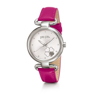 FOLLI FOLLIE - Γυναικείο ρολόι με δερμάτινο λουράκι FOLLI FOLLIE HEART 4 HEART φούξια