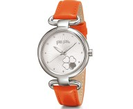 FOLLI FOLLIE - Γυναικείο ρολόι με δερμάτινο λουράκι FOLLI FOLLIE HEART 4 HEART πορτοκαλί