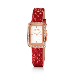 FOLLI FOLLIE - Γυναικείο ρολόι με δερμάτινο λουράκι FOLLI FOLLIE STYLE CODE κόκκινο