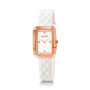 FOLLI FOLLIE - Γυναικείο ρολόι με δερμάτινο λουράκι FOLLI FOLLIE STYLE CODE λευκό