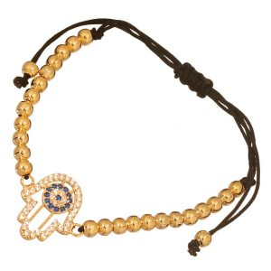 JEWELTUDE - Γυναικείο επίχρυσο βραχιόλι Μπίλιες Hamsa Μάτι