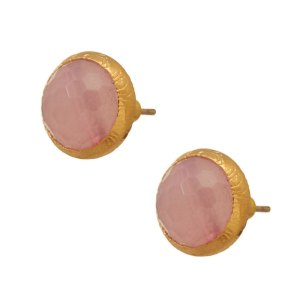 JEWELTUDE - Γυναικεία επίχρυσα σκουλαρίκια Μονόπετρα Ορυκτές Πέτρες Jeweltude ροζ