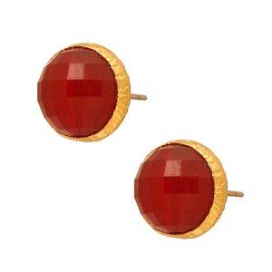 JEWELTUDE - Γυναικεία επίχρυσα σκουλαρίκια Μονόπετρα Ορυκτές Πέτρες Jeweltude κόκκινα
