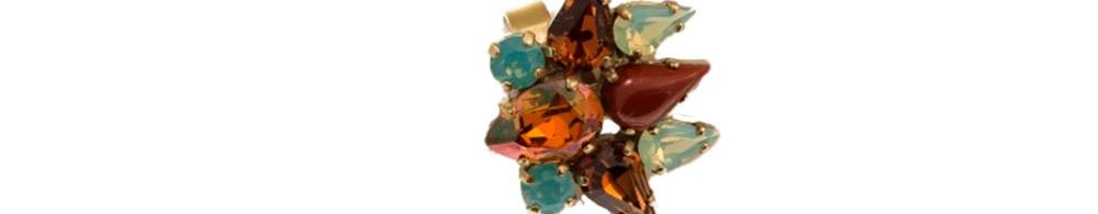 ARTWEAR DIMITRIADIS - Γυναικείο δαχτυλίδι μπρονζέ ARTWEAR DIMITRIADIS με στρας και πέτρες