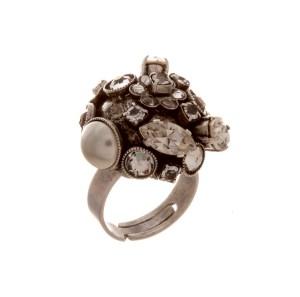 ARTWEAR DIMITRIADIS - Γυναικείο δαχτυλίδι ARTWEAR DIMITRIADIS με στρας και πέρλα