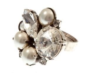 ARTWEAR DIMITRIADIS - Γυναικείο δαχτυλίδι αντικέ ARTWEAR DIMITRIADIS με στρας και πέρλες