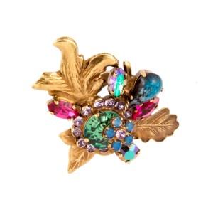 ARTWEAR DIMITRIADIS - Γυναικείο δαχτυλίδι μπρονζέ ARTWEAR DIMITRIADIS με πολύχρωμα στρας