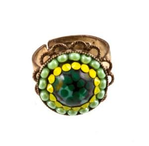 ARTWEAR DIMITRIADIS - Γυναικείο μεταλλικό δαχτυλίδι ARTWEAR DIMITRIADIS με στρας και χάντρες