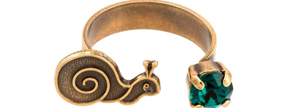 ARTWEAR DIMITRIADIS - Γυναικείο ανοιχτό δαχτυλίδι μπρονζέ ARTWEAR DIMITRIADIS με στρας