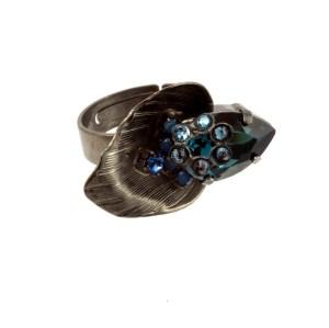 ARTWEAR DIMITRIADIS - Γυναικείο μεταλλικό δαχτυλίδι ARTWEAR DIMITRIADIS μαύρο με στρας
