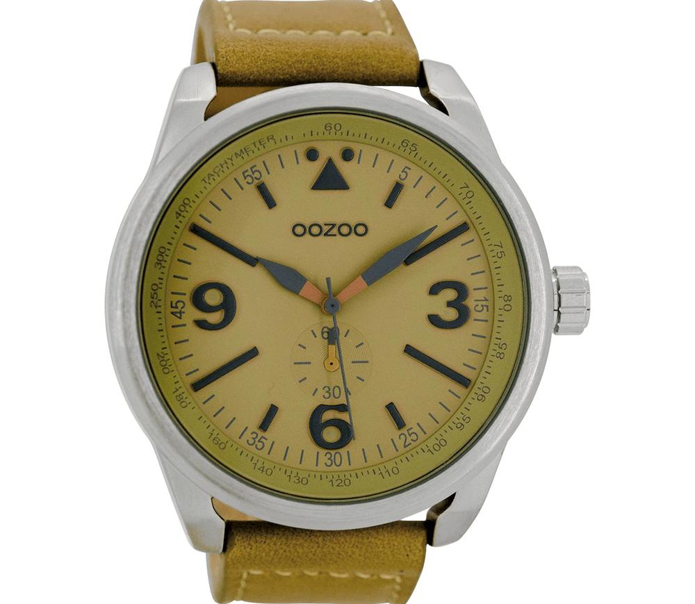OOZOO - Unisex δερμάτινο ρολόι OOZOO TIMEPIECES λαδί