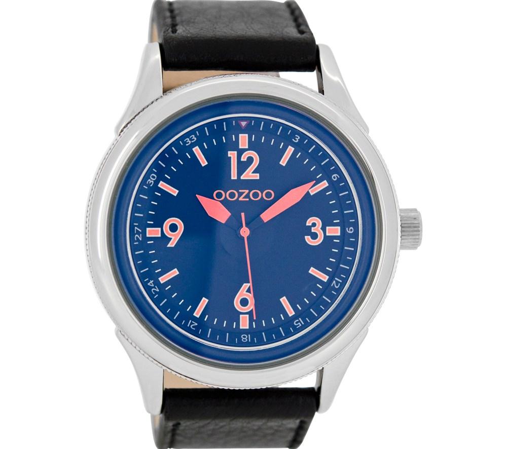OOZOO - Unisex δερμάτινο ρολόι OOZOO TIMEPIECES μαύρο