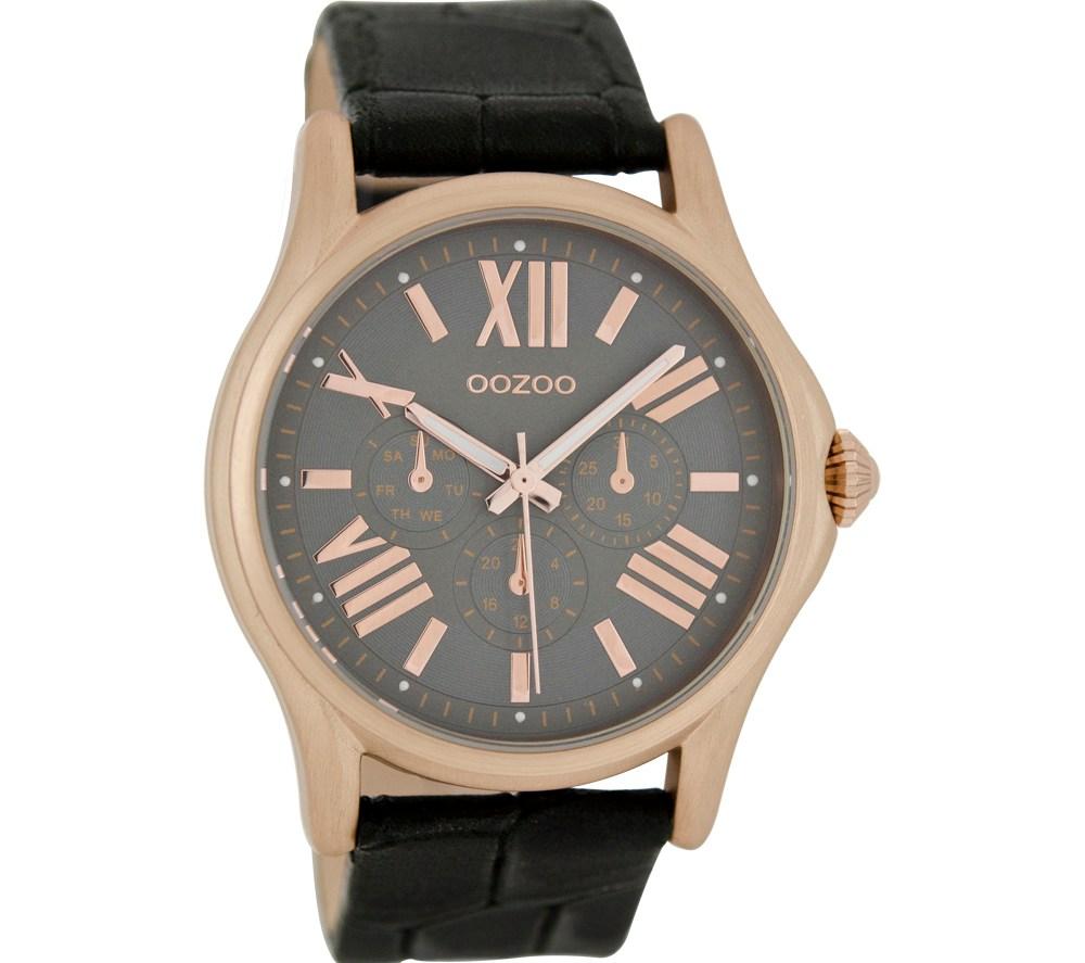 OOZOO - Γυναικείο δερμάτινο ρολόι OOZOO TIMEPIECES μαύρο