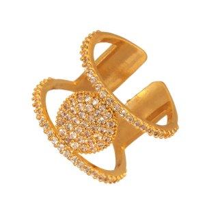 JEWELTUDE - Γυναικείο επίχρυσο ορειχάλκινο δαχτυλίδι Δίσκος