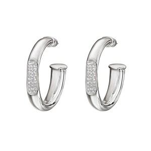 FOLLI FOLLIE - Γυναικεία σκουλαρίκια κρίκοι FOLLI FOLLIE επάργυρα