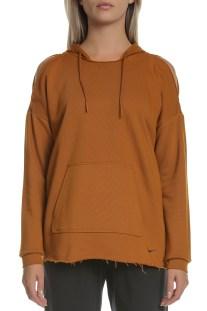 NIKE - Γυναικεία φλις μπλούζα προπόνησης με κουκούλα Nike Icon Clash καφέ