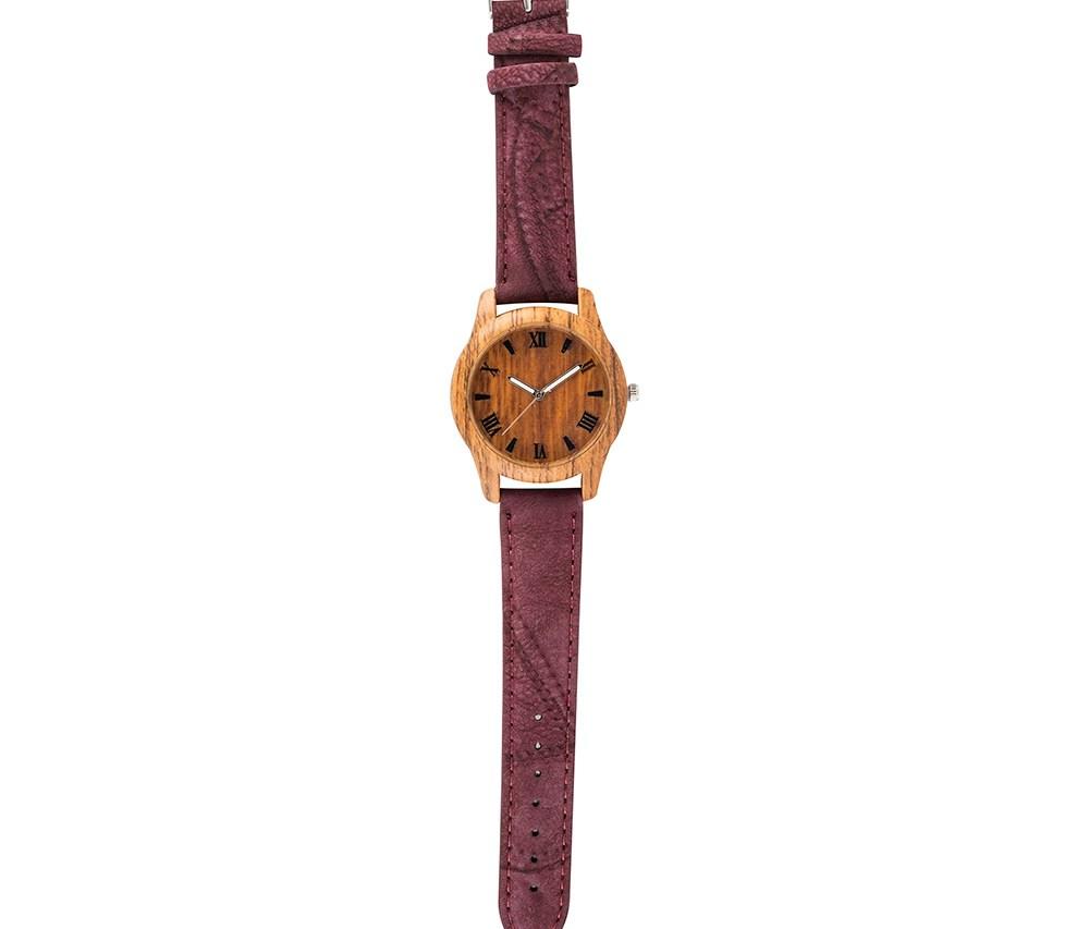 MOOD MAKERS - Ανδρικό ξύλινο ρολόι MOOD MAKERS μπορντό