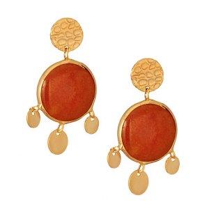 JEWELTUDE - Γυναικεία επίχρυσα σκουλαρίκια Δίσκοι Ορυκτές πέτρες