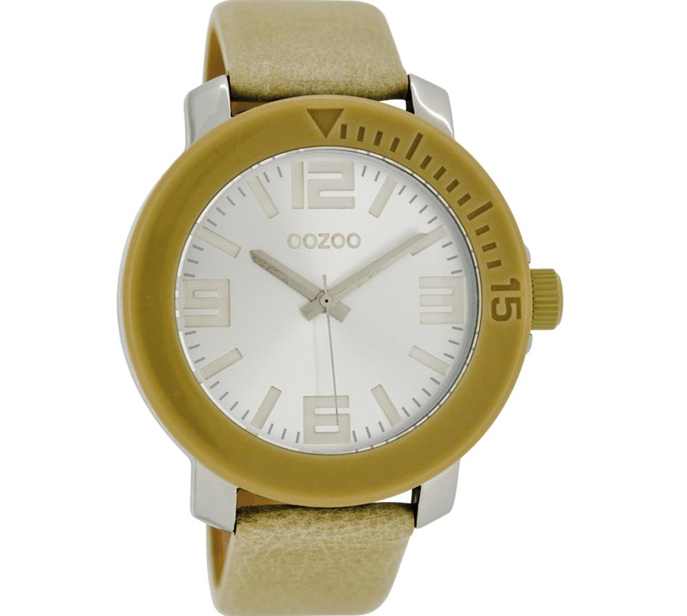 OOZOO - Unisex δερμάτινο ρολόι OOZOO TIMEPIECES μπεζ