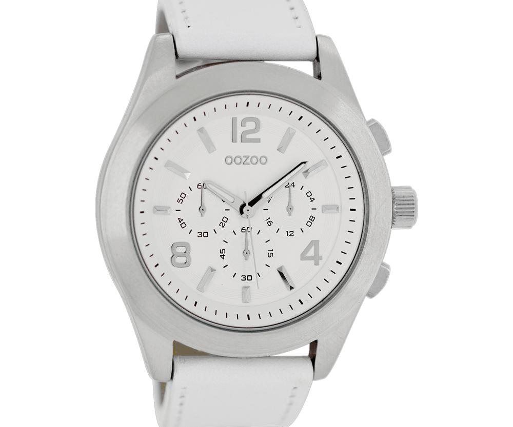 OOZOO - Unisex δερμάτινο ρολόι OOZOO TIMEPIECES λευκό