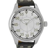 OOZOO - Unisex δερμάτινο ρολόι OOZOO TIMEPIECES γκρι σκούρο