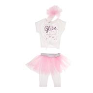 SAM 0-13 - Βρεφικό σετ με t-shirt, κολάν και τουτού SAM 0-13 εκρού-ροζ