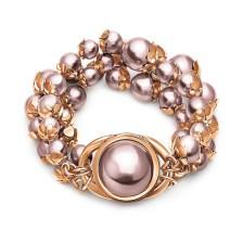 FOLLI FOLLIE - Γυναικείο ατσάλινο βραχιόλι FOLLI FOLLIE PEARL MUSE ροζ χρυσό γκρι