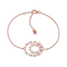 FOLLI FOLLIE - Γυναικείο ασημένιο βραχιόλι FOLLI FOLLIE FASHIONABLY SILVER ESSENTIALS ροζ χρυσό
