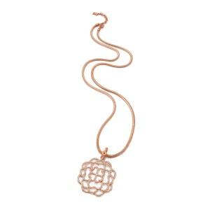 FOLLI FOLLIE - Μακρύ κολιέ FOLLI FOLLIE SANTORINI FLOWER επιμεταλλωμένο ατσάλι ροζ χρυσό