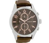OOZOO - Unisex δερμάτινο ρολόι OOZOO TIMEPIECES καφέ
