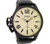 OOZOO - Ανδρικό δερμάτινο ρολόι OOZOO STEEL GENTS μαύρο