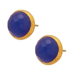 JEWELTUDE - Γυναικεία επίχρυσα σκουλαρίκια Μονόπετρα Ορυκτές Πέτρες Jeweltude μπλε