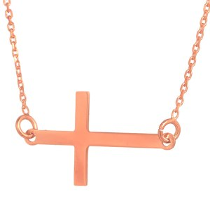 JEWELTUDE - Γυναικείο ασημένιο ρόζ επιχρυσωμένο κολιέ Σταυρός