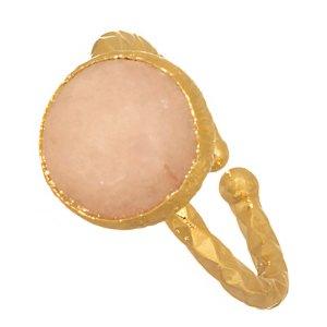 JEWELTUDE - Γυναικείο επίχρυσο δαχτυλίδι Μονόπετρο Ορυκτή Πέτρα