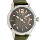 OOZOO - Unisex δερμάτινο ρολόι OOZOO TIMEPIECES χακί