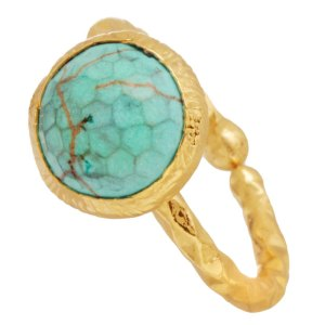 JEWELTUDE - Γυναικείο επίχρυσο ορειχάλκινο δαχτυλίδι Μονόπετρο Χαολίτης