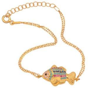 JEWELTUDE - Γυναικείο ασημένιο επίχρυσο βραχιόλι Ψάρι
