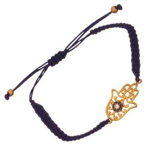 JEWELTUDE - Γυναικείο βραχιόλι κορδόνι επίχρυσο Χέρι της Φατίμα Μάτι