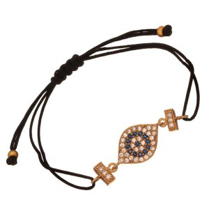 JEWELTUDE - Γυναικείο βραχιόλι κορδόνι επίχρυσο Μάτι