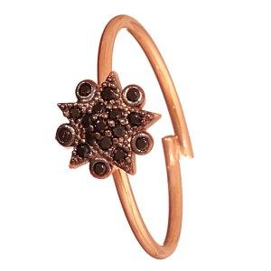 JEWELTUDE - Γυναικείο ασημένιο ρόζ επιχρυσωμένο δαχτυλίδι Αστέρι