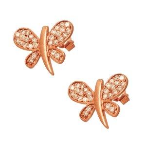 JEWELTUDE - Γυναικεία ρόζ επιχρυσωμένα σκουλαρίκια Λιβελλούλες