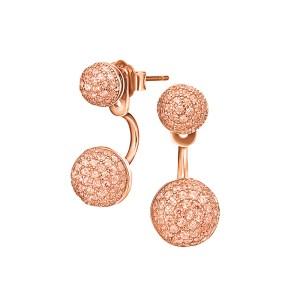 FOLLI FOLLIE - Ασημένια κοντά σκουλαρίκια FOLLI FOLLIE ροζ-χρυσά